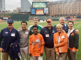 Kelly & Associates Insurance Group joins the Baltimore Orioles and the R Adams Cowley Shock Trauma Center (UMMS) for the Shock Trauma Saves Program On-Field Presentation